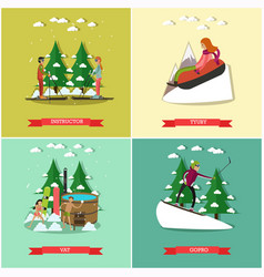 set of winter fun posters in flat style vector image vector image
