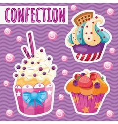 three tasty cakes on a pink background vector image