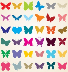 butterflies silhouettes vector image
