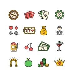 Casino Icon Color Set vector image
