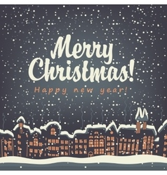 Christmas card old city vector image