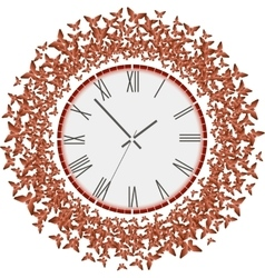 Clock with flying red butterflies vector image