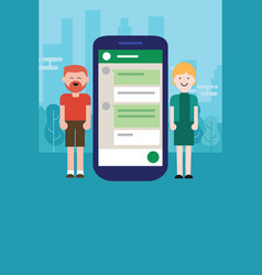 Couple man woman chat on mobile device smart-phone vector