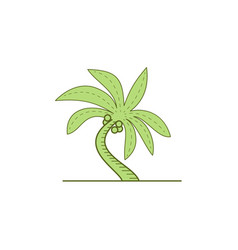 curved palm tree mono line vector image vector image