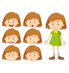 Little girl with many facial expressions vector image vector image