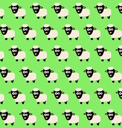 Seamless Pattern with Cute Cartoon Sheep vector image