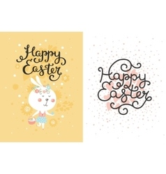 set of easter cards with bunny egg vector image vector image