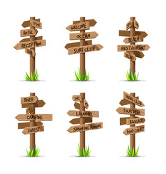 wooden arrow signboards resort set vector image vector image