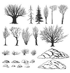 forest constructor ink hand drawn vector image