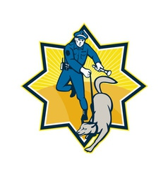 Policeman Police Dog Canine Team vector image vector image