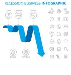 Recession business infographic template vector