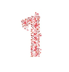 Romantic floral number 1 vector image vector image