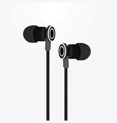 black earphones vector image
