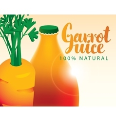 carrot bottle juice vector image vector image