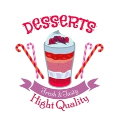 Creamy fruit dessert symbol for cafe menu design vector image vector image