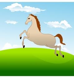 Fastest horse gallops across field vector