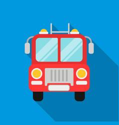 Fire truck icon flat single silhouette fire vector