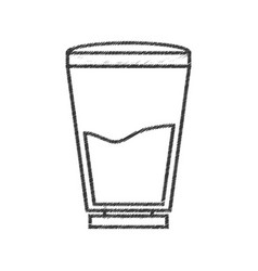 Glass water fresh line vector