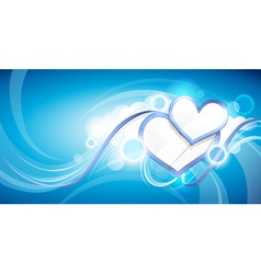 hearts in clouds vector image