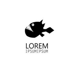 Icon black is a predatory fish vector