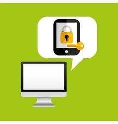online protection digital key save vector image