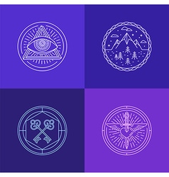 set of linear abstract symbols and signs vector image