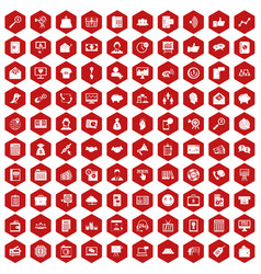 100 viral marketing icons hexagon red vector