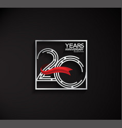 20 years anniversary logotype with square silver vector