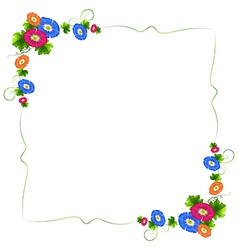 A border design with fresh colorful flowers vector image