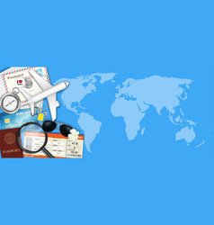 airplane and travel object on world map vector image