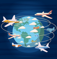 airplanes around the world concept cartoon style vector image