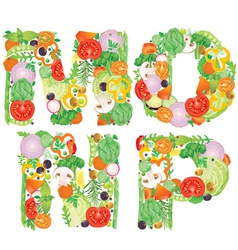Alphabet of vegetables MNOP vector image