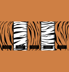Animal collection abstract pattern texture tiger vector