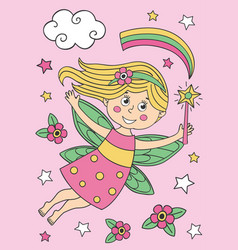 beautiful fairy girl with magic wand vector image