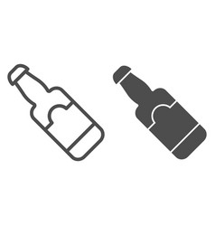 beer bottle line and glyph icon glass bottle vector image