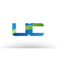 Blue green uc u c alphabet letter logo vector