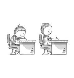 boys sitting at desk bad and correct pusture vector image