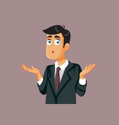 Business man shrugging shoulders feeling confused vector