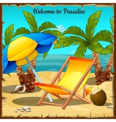 Card on the ocean with palm trees and sun loungers vector