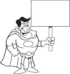 Cartoon super hero holding a sign vector image