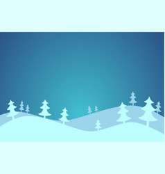 cartoon winter background with pine trees vector image
