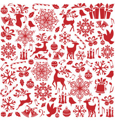 christmas seamless pattern from holiday elements vector image