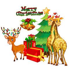 Christmas theme with deer and giraffe vector