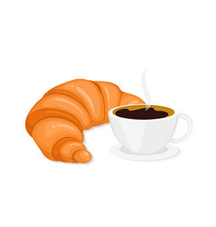 Coffee and croissant in flat style vector