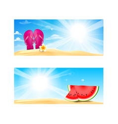 Collection of blank banner with copy space summer vector