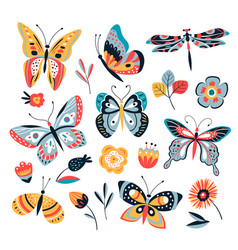 color drawing butterfly butterflies moth and vector image