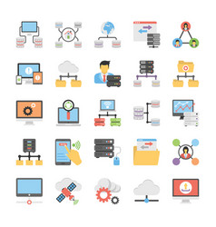 communication and networking flat icons vector image