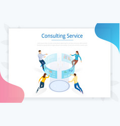 consulting service isometric business data vector image