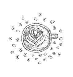 cup with a coffee drink and coffee beans on the vector image