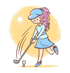cute girl playing golf vector image